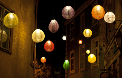 Colorful street lamps
