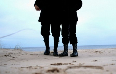 Feet, Boots, Sea And Sand