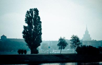 Mist over Riga in morning