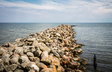 Rock breakwater in Engure