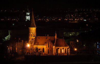 Vytautas church in Kaunas at night