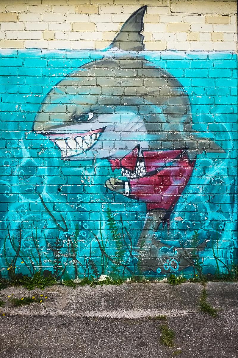 Evil Shark Graffiti Via @Atisgailis